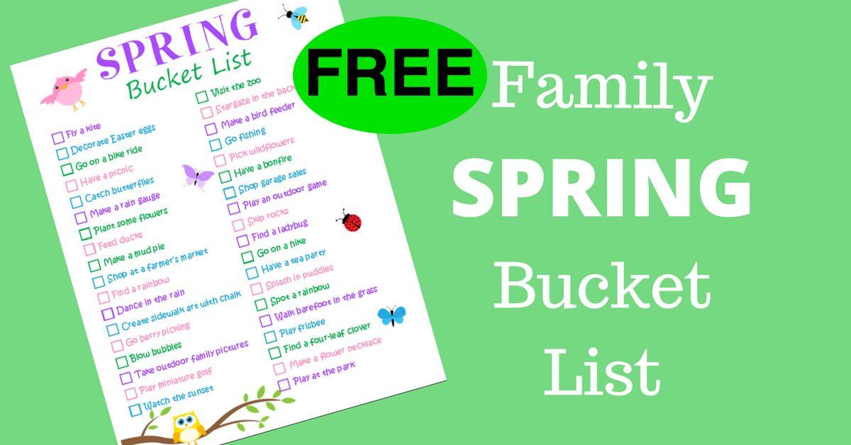 FREE Family Spring Bucket List Printable!