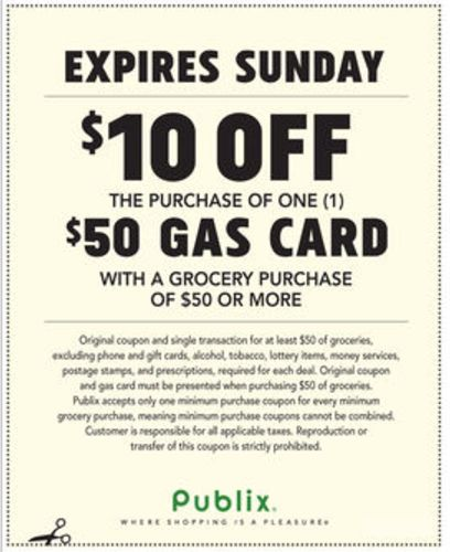 Publix Gas Card Deal Don't Miss Your $10 Off! (3/14 – 3/18 or 3/15 – 3/18)