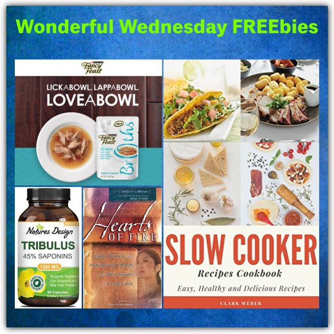 FOUR FREEbies: Fancy Feast Broths Cat Food, Christian Heroine Paperback Book, Slow Cooker Recipes eCookbook and Nutritional Supplement from Nature's Design!