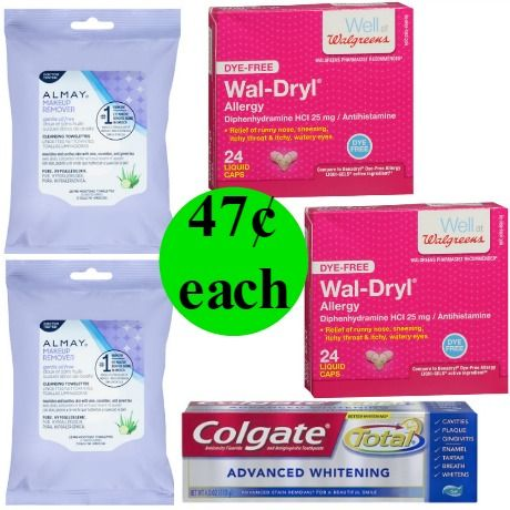 Don't Miss Getting Almost $18 Worth of Almay Makeup Removers, Wal-Dryl Allergy Relief Tablets & Colgate Advanced Toothpaste for Only $2.37 This Week at Walgreens!