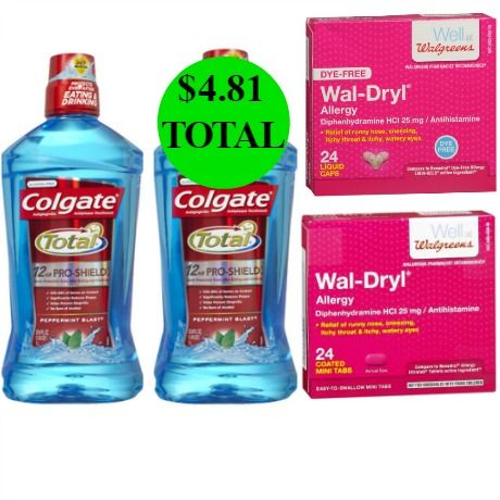 For $4.81 TOTAL, Get TWO Wal-Dryl Allergy Tablets & TWO Colgate Total Mouthwash BIG Bottles This Week at Walgreens!