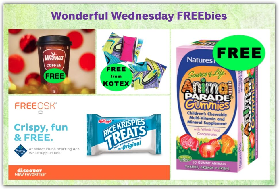 FOUR (4!) FREEbies: Coffee at Wawa TOMORROW 4/13, Rice Krispie Treats at Sam's Club, Animal Parade Gummy Vitamins and U by Kotex!