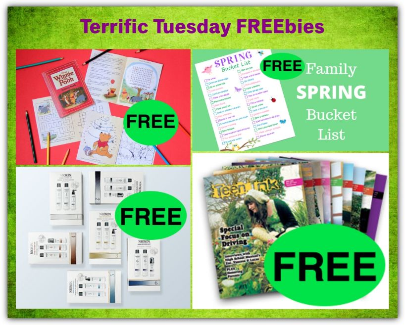 FOUR FREEbies: Winnie the Pooh Printable Activity Book, Issue of Teen Ink Magazine, Nioxin Shampoo & Conditioner and Family Spring Bucket List Printable!