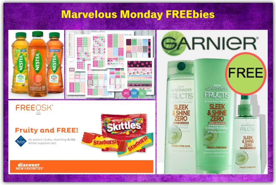 FOUR FREEbies: Bottle of Nestea Iced Tea, Garnier Sleek & Shine Zero, Skittles at Sam's Club and Spring Planner Stickers!