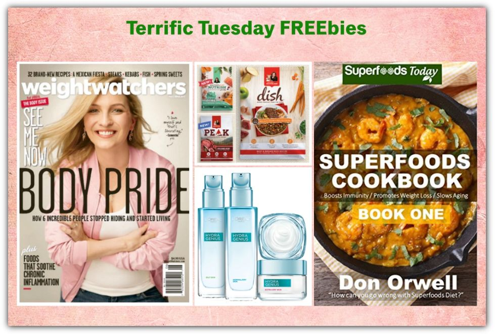FOUR FREEbies: Pet Food Samples from Rachel Ray, Annual Subscription to Weight Watchers Magazine, Superfoods eCookbook and L'Oreal Hydra-Genius Moisturizer!
