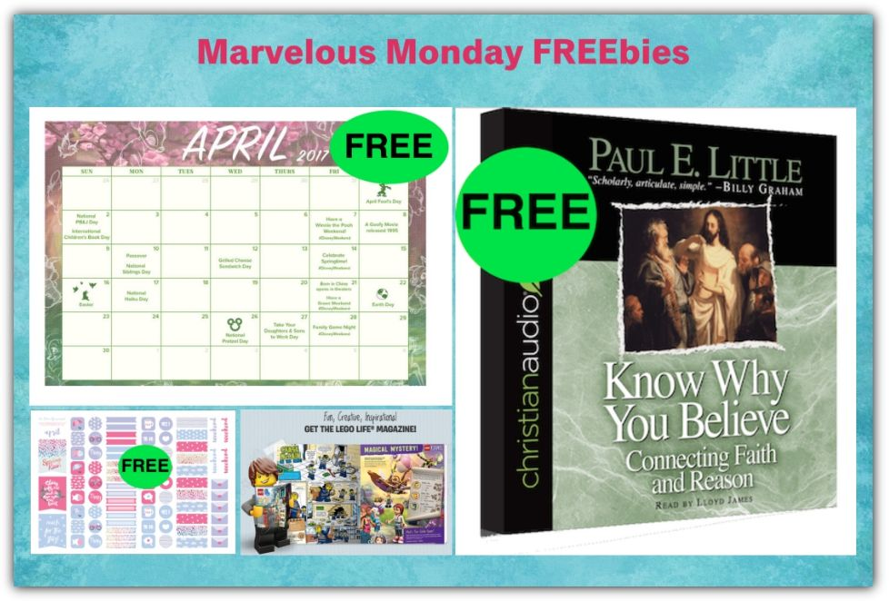 FOUR FREEbies: April Planner Stickers, Know Why You Believe Audiobook, LEGO Life Magazine and April #DisneyWeekend To Do List Printable Calendar!