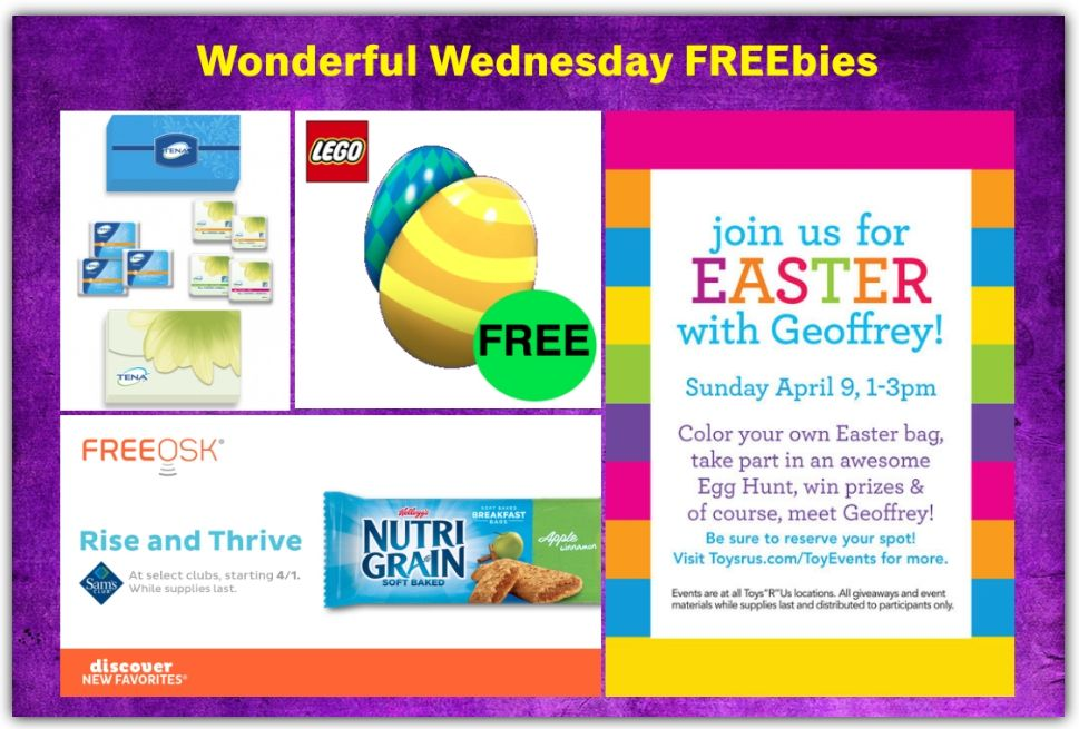 FOUR FREEbies: ToysRUs Easter Egg Hunt, LEGO Easter Egg Hunt, NutriGrain Bar at Sam's Club and Tena Sample Pack!
