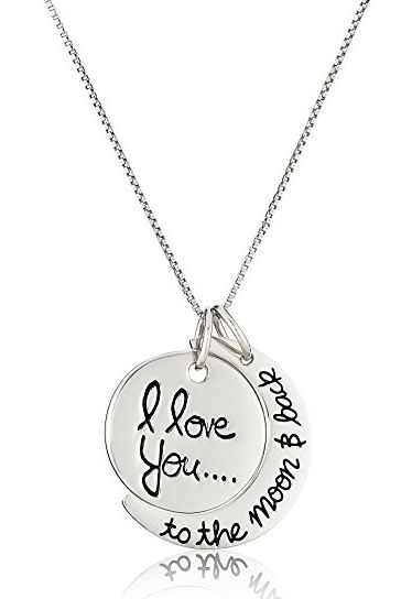"Sterling Silver ""I Love You to the Moon and Back"" 18"" Necklace"