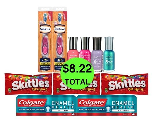 For Only $8.22 TOTAL, Get (2) Spinbrushes, (2) Toothpastes, (3) Skittles & (4) Nail Polishes This Week at CVS!
