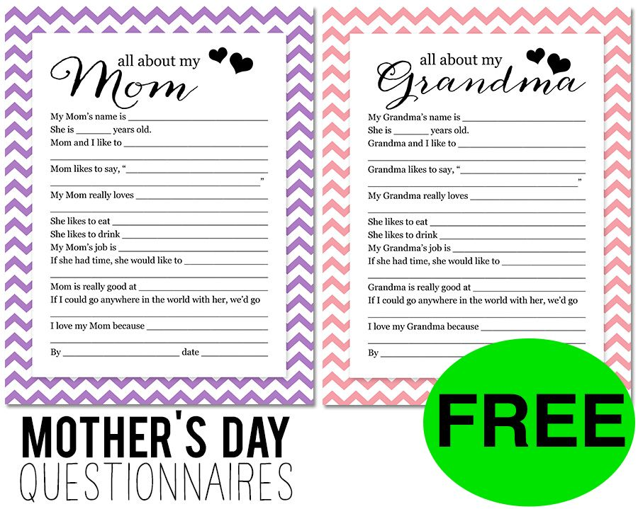 FREE Mother's Day Questionnaire!