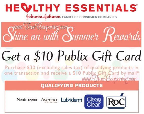 Publix Johnson & Johnson 'Summer Beauty Rewards' FREE $10 Gift Card MIR! (Valid through 6/30/17)