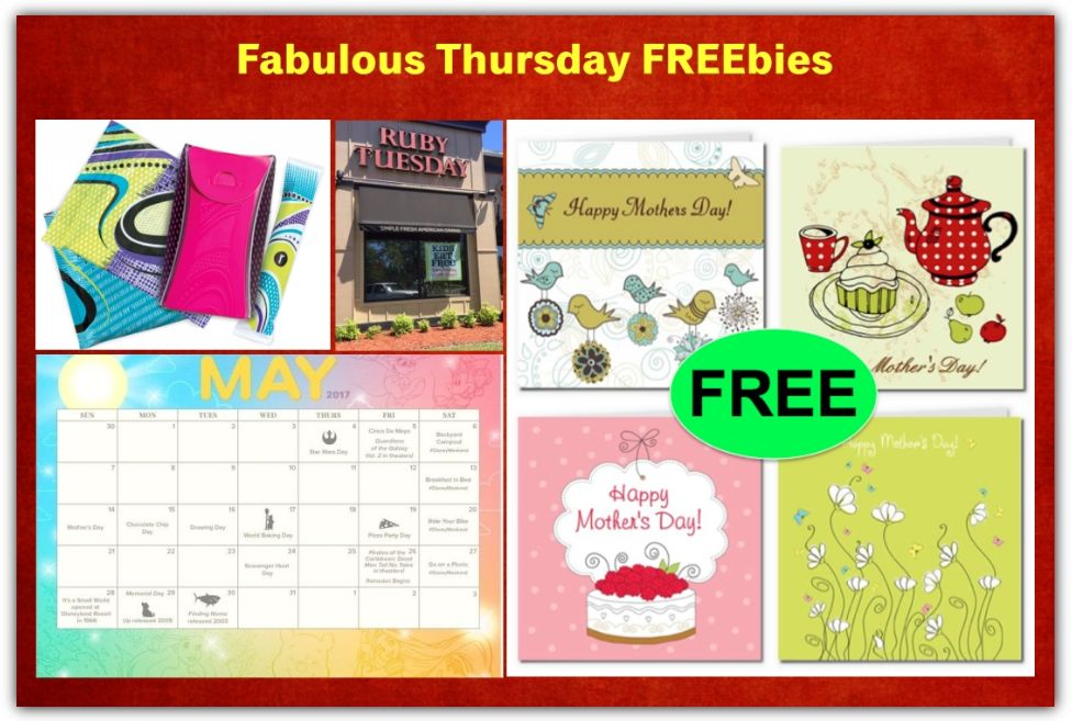 FOUR FREEbies: Kids Meal at Ruby Tuesday, U by Kotex Sample Pack, Mother's Day Printable Cards and Disney May 2017 Calendar Printable!