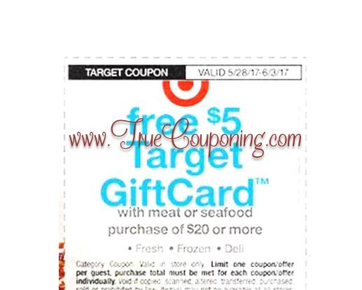 *Heads Up* This Sunday (5/28/17) We're Getting a FREE $5 Gift Card wyb $20+ MEAT/SEAFOOD Target Coupon!