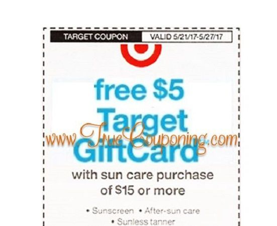 FREE $5 GC wyb $15+ Sun Care Purchase Target Coupon ~ Coming Sunday, 5/21!
