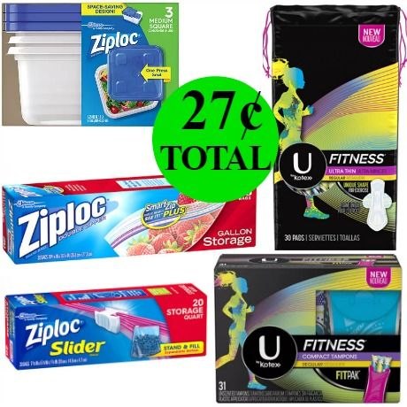 Don't Miss the Almost $20 Kotex Fitness and Ziploc Bags or Containers You Get This Week For Only 27¢ TOTAL!