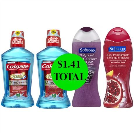 Don't Miss the $24 Worth of Softsoap Body Wash & Colgate Total Advanced Mouthwash You Get This Week at Walgreens For Only $1.41!