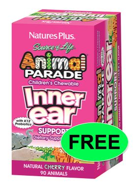 FREE Animal Parade Children's Chewable Inner Ear Support!