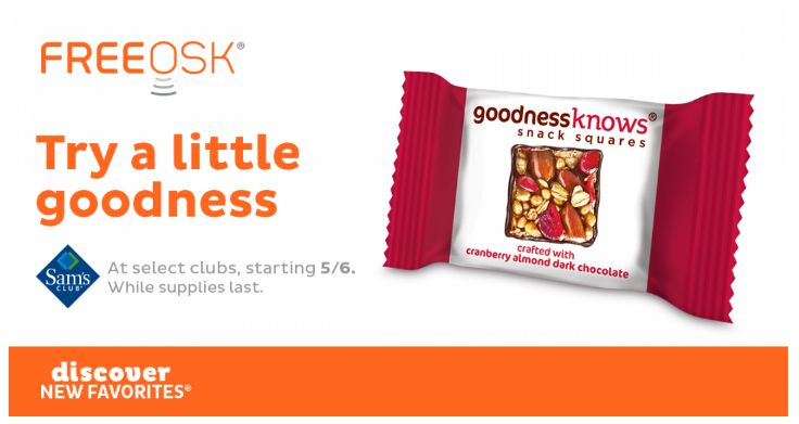 FREE Goodness Knows Snack Squares at Sam's Club!