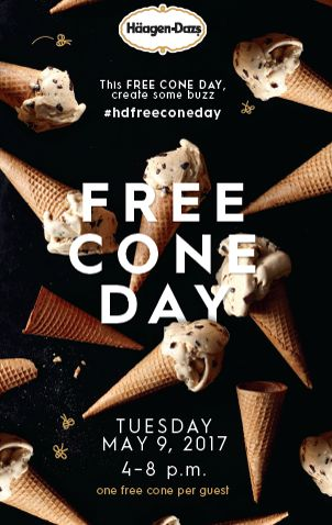 FREE Ice Cream Cone at Haagen Daaz TODAY 5/9 from 4pm to 8pm!