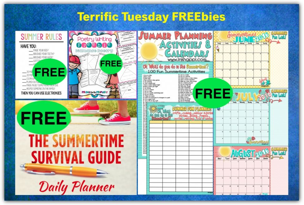 FOUR FREEbies: Summertime Survival Guide Daily Planner, Diamante Poetry Mini Unit Printable, Summer Activities and Calendar Printable and Summer Rules Printable!