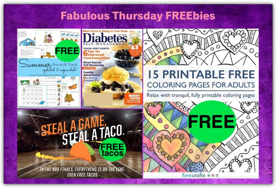 FOUR FREEbies: Annual Subscription to Diabetes Self-Management Magazine, Taco Bell Tacos, Adult Coloring Book and Summer Pre-K/K Pack!