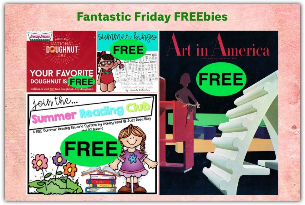 FOUR FREEbies: Annual Subscription to Art in America Magazine, Summer Bingo Printable, Krispy Kreme Doughnut on 6/2 and Summer Reading Program Printable!