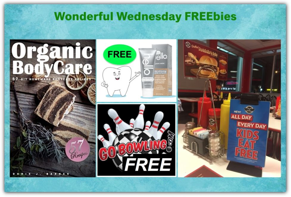 FOUR FREEbies: Hello Extra Whitening Toothpaste, Kids Meal at Steak 'n Shake All Day Every Day, Game of Bowling and 57 DIY Homemade Body Care Recipes eBook!