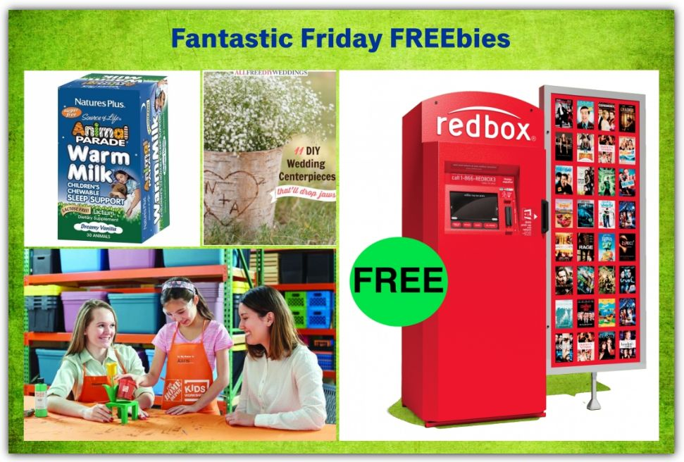 FOUR FREEbies:  Redbox DVD Rental, Kids Workshop at Home Depot, DIY Wedding Centerpieces eBook and Sleep Support Supplement for Kids!
