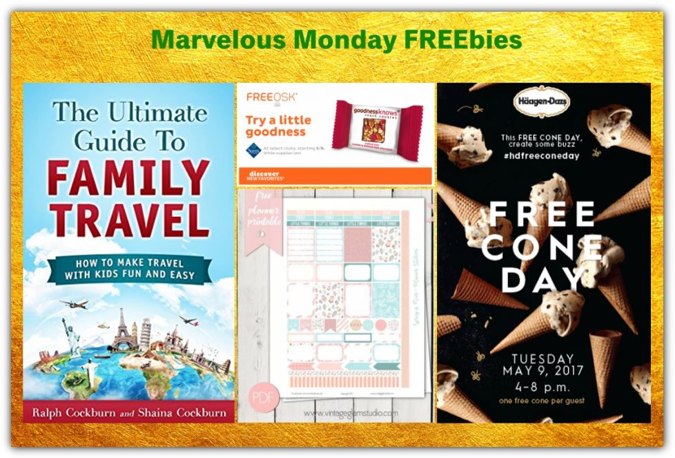 FOUR FREEbies: Ice Cream Cone at Haagen Daaz TOMORROW 5/9, Goodness Knows Snack Squares at Sam's Club, Spring Planner Sticker Printable and Ultimate Guide to Family Travel eBook!