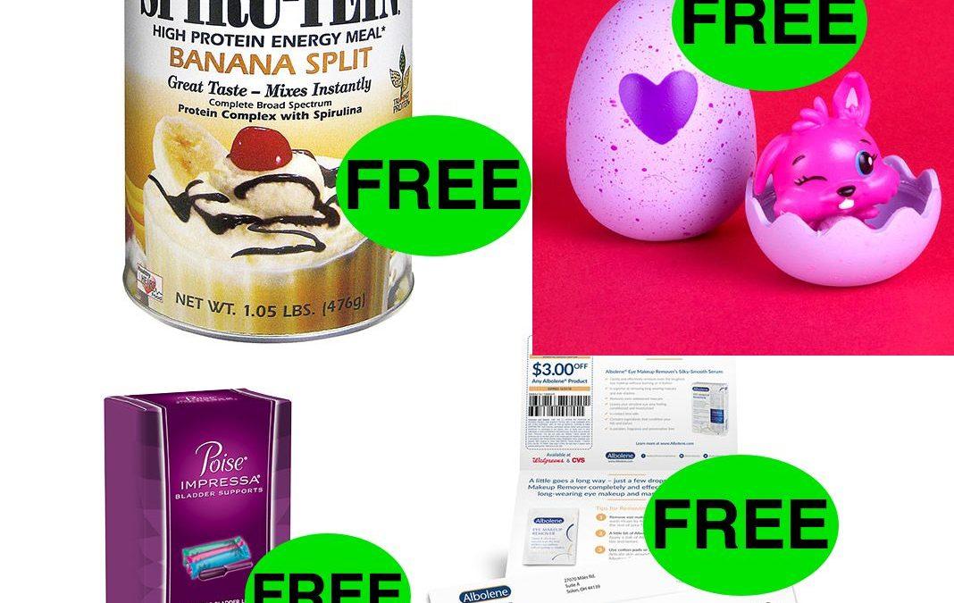 FOUR (4!) FREEbies: Eye Makeup Remover, Poise Impressa, Hatchimals CollEGGtible and Banana Split Spiru-Tein Shakes!