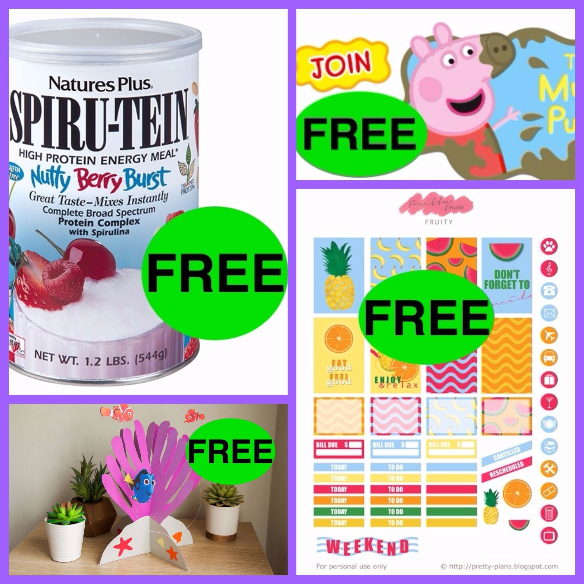 FOUR (4) FREEbies: Summer Fruity Planner Printable Stickers, Nutty Burst Spiru-Tein Shake, Printable Sea Anemone for Nemo Craft and Peppa Pig Welcome Gift AND Birthday Pack!