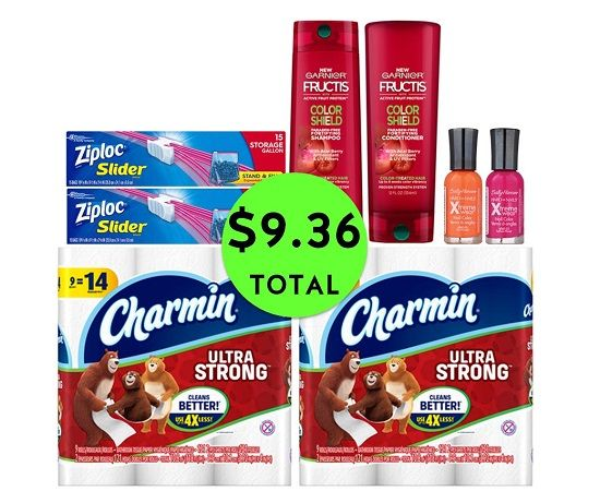 For Only $9.36 TOTAL, Get (2) Hair Care, (2) Ziploc Bags, (2) Nail Polish Colors & (2) Charmin TP 9 Packs This Week at CVS!