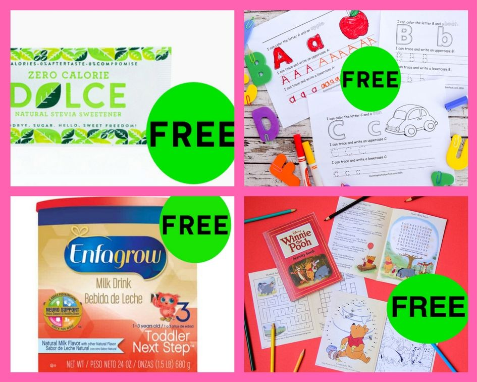 FOUR (4!) FREEbies: Dolce Natural Sweetener, Learning to Write Printables, Winnie the Pooh Activity Book and Enfamil Formula!