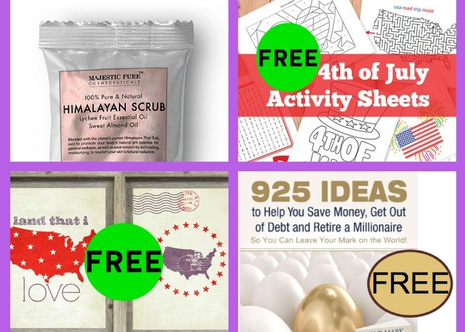 FOUR (4!) FREEbies: Body Scrub, 4th of July House Decor Printables, 925 Ideas to Help You Save Money eBook and 4th of July Kids Activity Printables!
