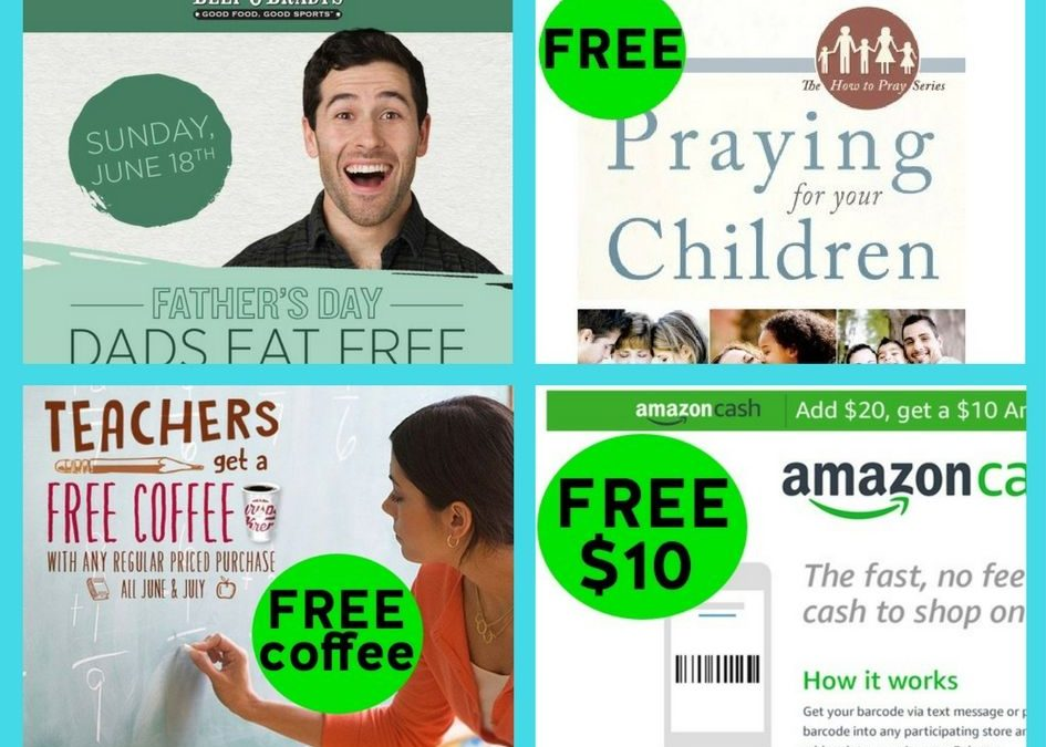 FOUR (4!) FREEbies: Meal at Beef'O'Brady's, Praying for Your Children eBoo, Coffee at Krispy Kreme and $10 from Amazon!