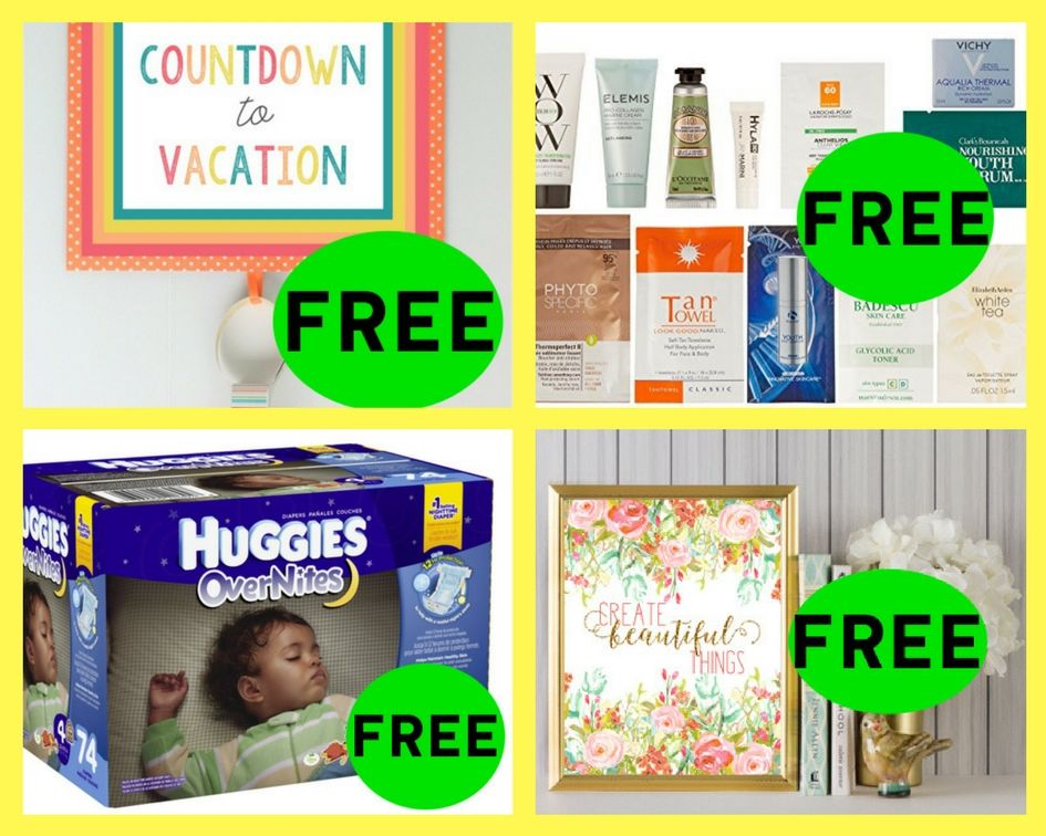 FOUR (4!) FREEbies: Countdown to Vacation Printable, Woman's Luxury Amazon Sample Box, Huggies Overnite Diapers and Summer Inspired Floral Printable!