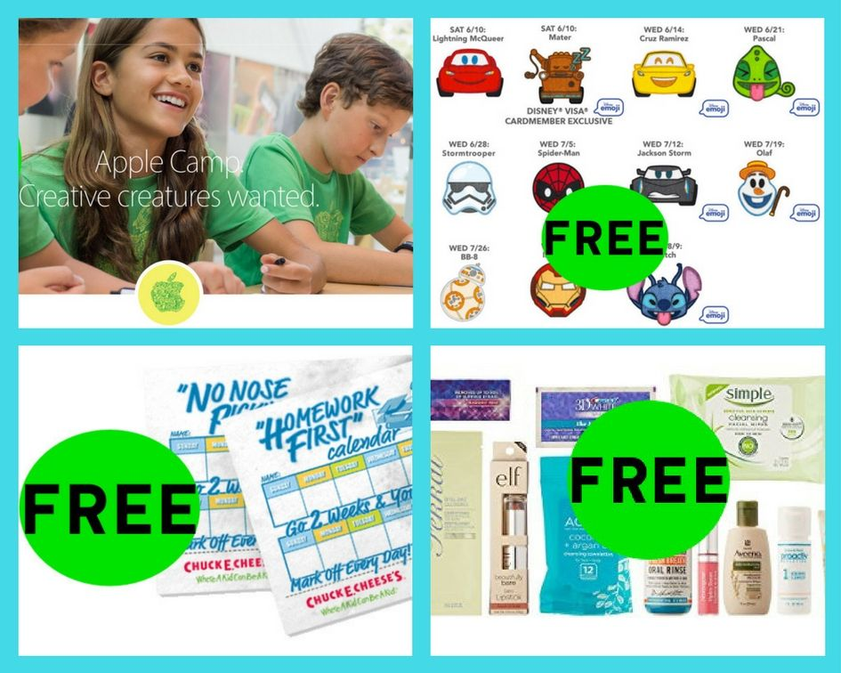 FOUR (4!) FREEbies: Apple Store 3-Day Workshops, Disney Patches, Beauty Sample Box and Chuck E. Cheeses Calendar Printables!