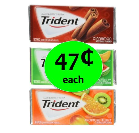 Run In to Winn Dixie for 47¢ Trident Gum Singles! ~ Right Now!