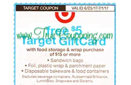 *Heads Up* This Sunday (6/25/17) We're Getting a FREE $5 Gift Card wyb $15+ Food Storage & Wrap Target Coupon!