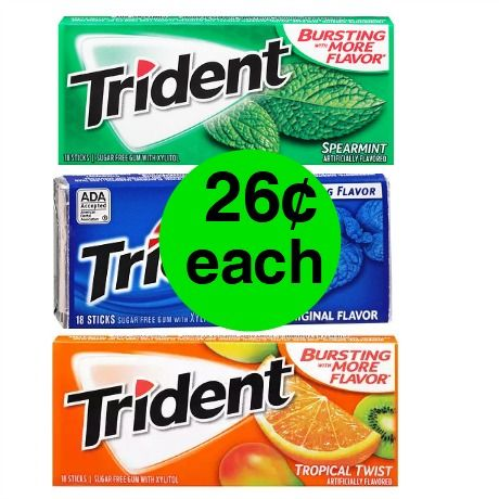 Don't Miss Trident Gum Single Packs Only 26¢ Each at Walgreens! ~ Starts Sunday!