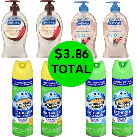 For $3.86 TOTAL, Get (4) Softsoap Handsoaps & (4) Scrubbing Bubbles Cleaners This Week at Walgreens!