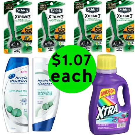 For $7.25 TOTAL, Get 4 Schick Razor Packs, 2 Head & Shoulders Hair Care, 1 Xtra Laundry Detergent & 1 Movie Ticket This Week at Walgreens!