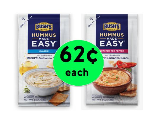 Dip Into TWO (2!) Bush's Hummus Made Easy for ONLY 62¢ Each at Winn Dixie! ~ Valid 6/28 ONLY!