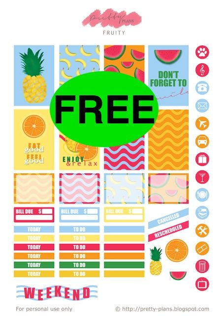 FREE Summer Fruity Planner Printable Stickers!