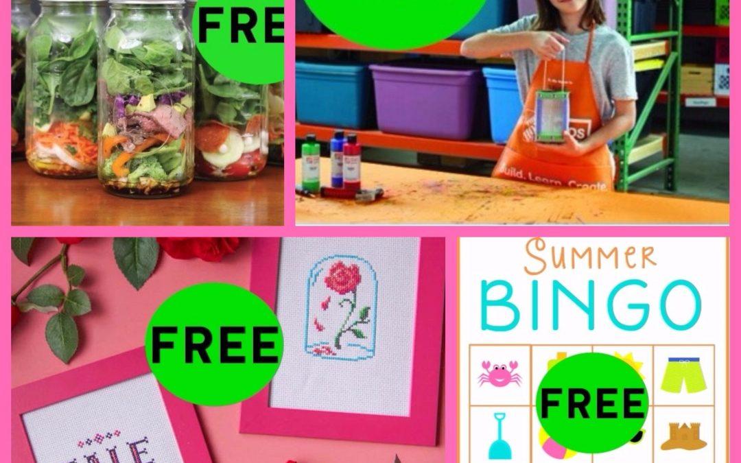 FOUR (4!) FREEbies: Summer Bingo Printable, Beauty and the Beast Cross Stitch DIY Craft, Bug House and Mason Jar Salad Recipes eBook!
