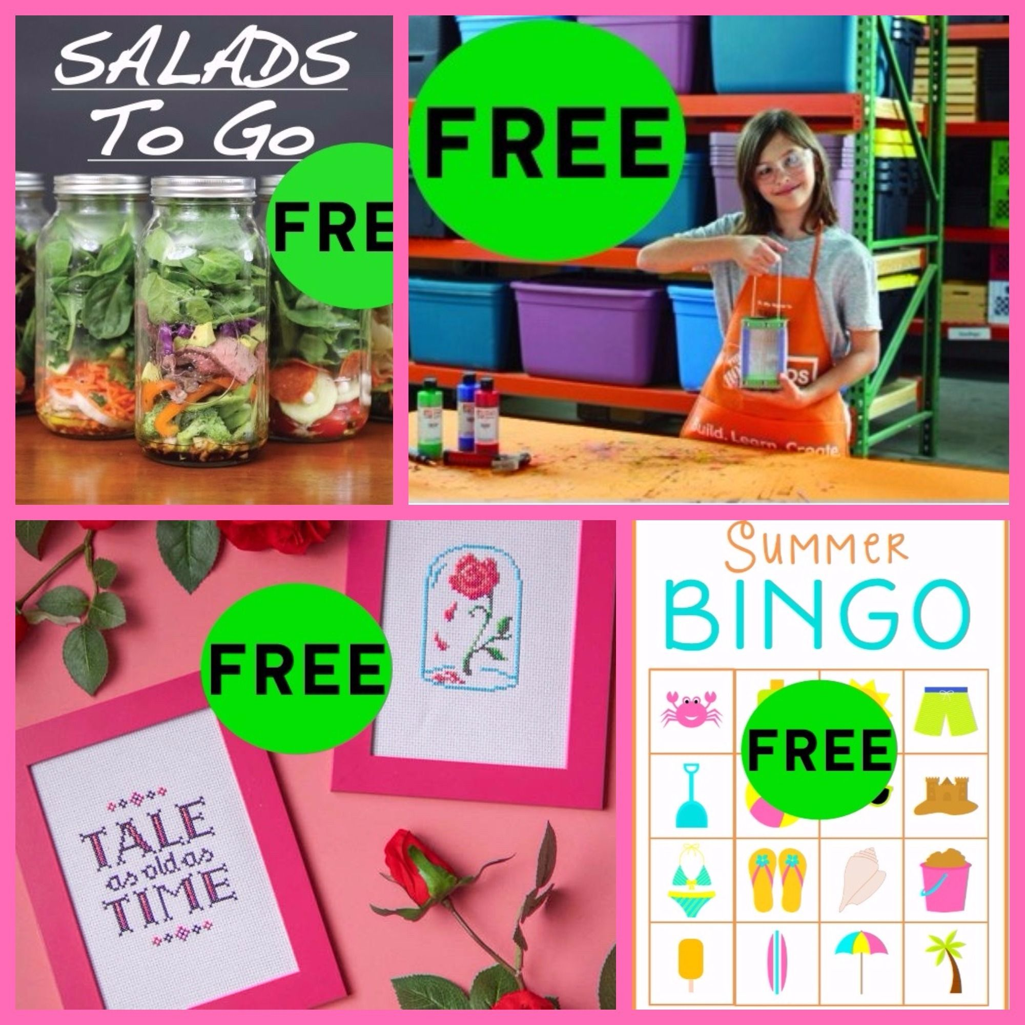 FOUR (4!) FREEbies: Summer Bingo Printable, Beauty and the Beast Cross Stitch DIY Craft, Bug House and Mason Jar Salad Recipes eBook!