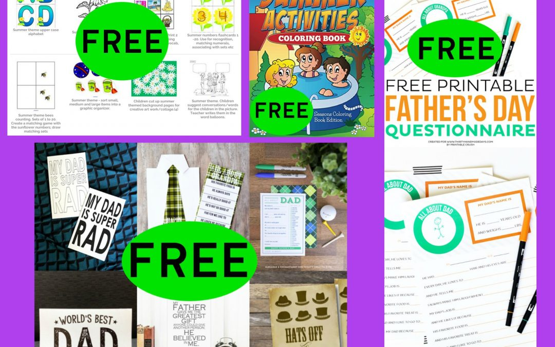 FOUR (4!) FREEbies: Father's Day DIY Printable Cards, Summer Activities Coloring Book, Father's Day Questionnaire Printable and Summer Printables!