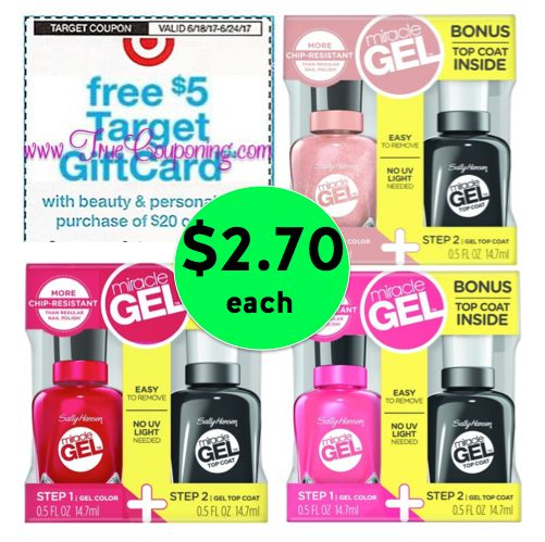 Don't Miss Out on THREE (3!) Sally Hansen Miracle Gel Duo Nail Color 2-Packs JUST $2.70 Each! (Save 64% Off!) at Target! ~ Ends Tomorrow!