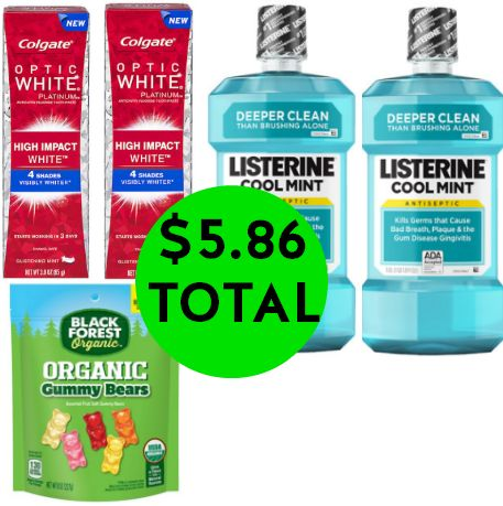 For $7.84 TOTAL, Get (2) BIG Bottles of Listerine Rinse, (2) Colgate Optic White High Impact Toothpastes & (1) Black Forest Gummy Candy This Week at Walgreens