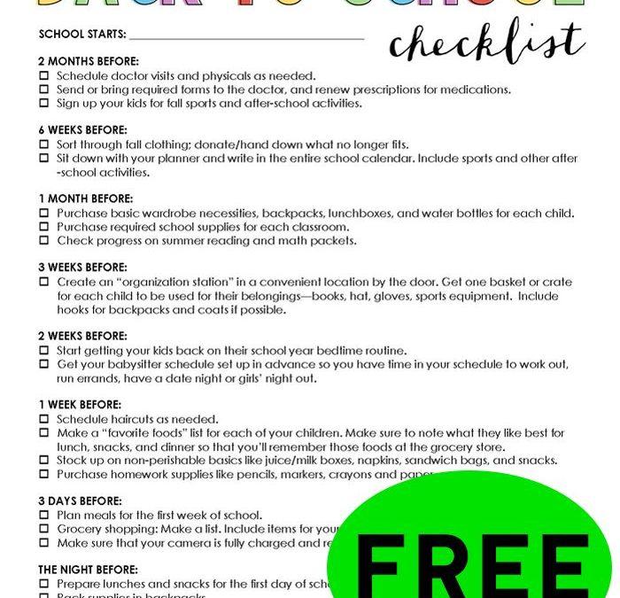 FREE Back To School Checklist!